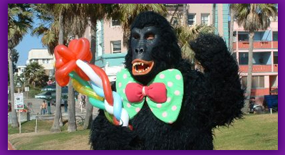 gorilla, silly sally, entertain, clown, balloon twisting, los angeles